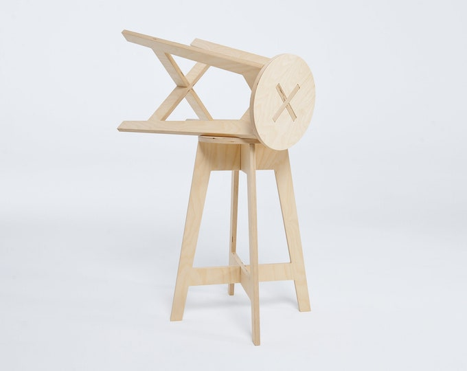 """Bar stool counter high 63cm (24 3/4""""), made of plywood, great for craft fairs, art studio, workshop, office or kitchen"""