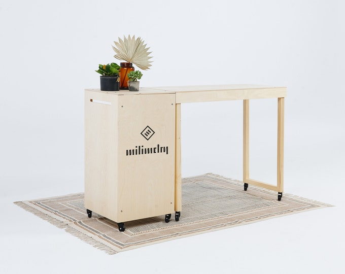 SET: Portable counter VC-06W and table VC-04W on wheels, check out station, gift wrapping station, vendor booth with storage. Milimetry