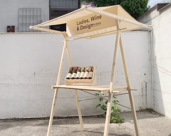 Vendor display stand VC-01S with sun canopy, sustainable reusable wooden craft show display, farmers market stand