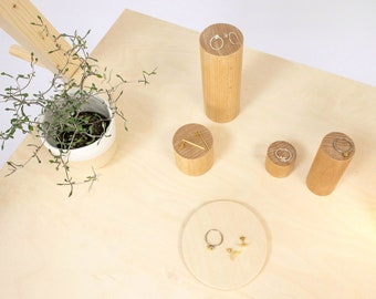 Cylinder ring display stand, 4 wooden cylinders | wooden shop and craft fair display