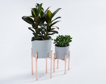 Set of 2 copper plant stand, rose gold pot holder