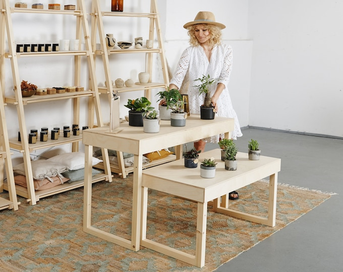 A set of two display tables VC-05, perfect as a craft show display, store tiered display table