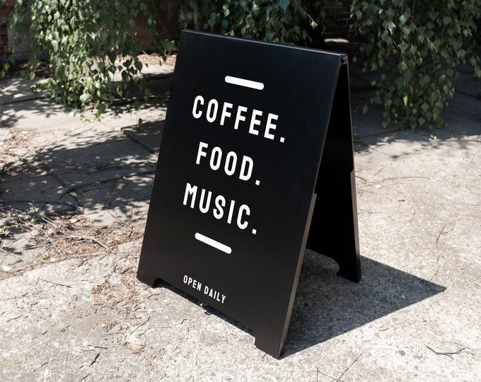 Outdoor personalized sandwich board, metal a-frame, for restaurants, shops, events