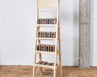 Portable tall and narrow shelving unit VS-04 with shelves or drawers, craft show display