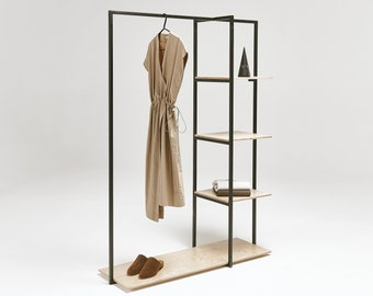 Portable garment rack with shelves SR-07 | craft fair | fashion show | colors available