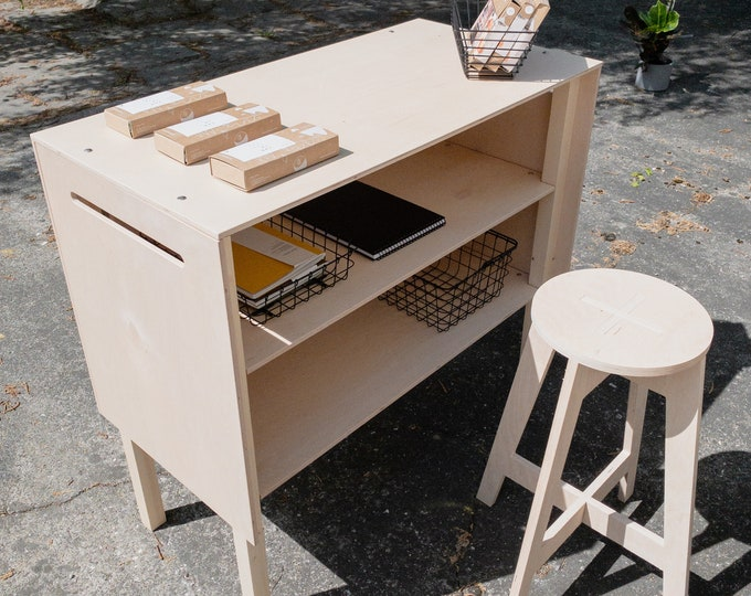 PACKAGE: Pop up counter VC-03 + Plywood stool