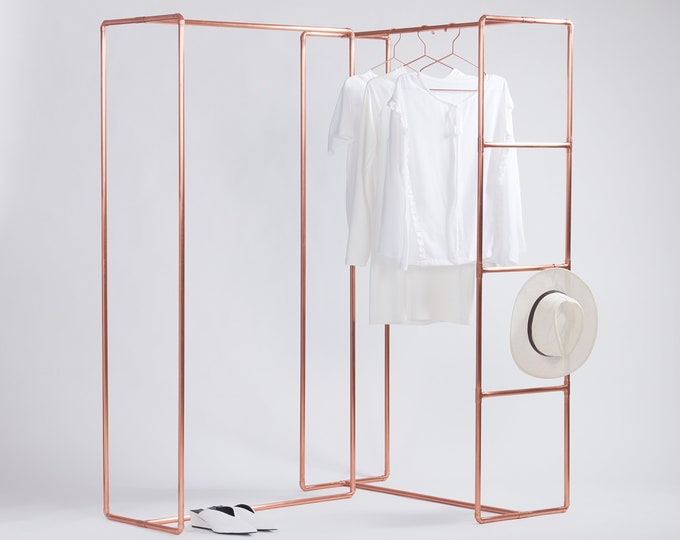 Fashion show display clothing rail made of copper pipe FREE carrying case | booth | garment & accessories rail fair and shop retail display