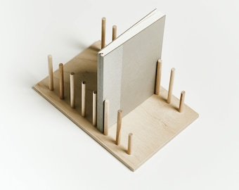 Wooden notebook holder, handmade display stand, desk organizer
