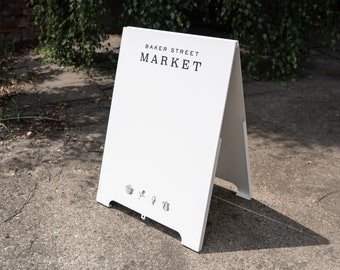 Sandwich board, personalized and magnetic sign, metal a-frame, for restaurants, shops, events