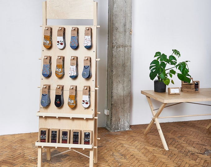 Portable pegboard stand for socks, ceramics, cards with storage shelves VP-01 | pop up store |