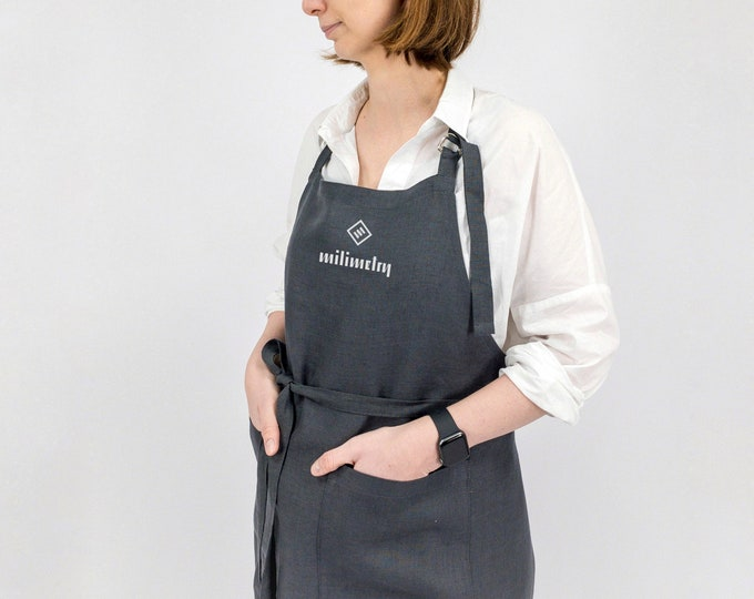 Linen apron with custom logo, for craft makers, shops, bars