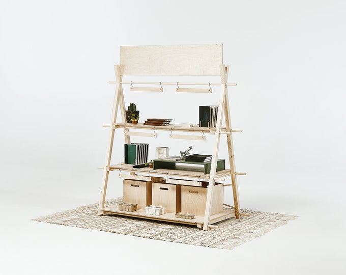 Portable shelving unit VS-02L with 3 plywood shelves | counter | raw wood & plywood | shop and fair display