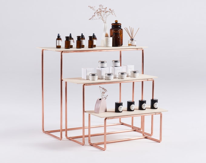 3-tiered copper stand for trade shows and retail display, collapsible