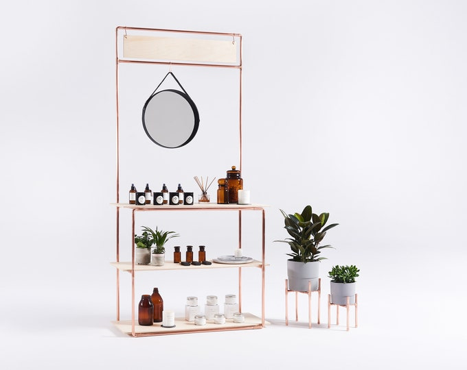 Collapsible copper stand CR-11 with 3 shelves and a sign board