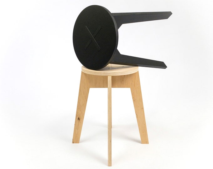 "Modern plywood stool 45cm (17 3/4 "") high"