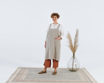 Personalized 100% linen japanese style apron, for shops, craft shows, artisan work, no ties