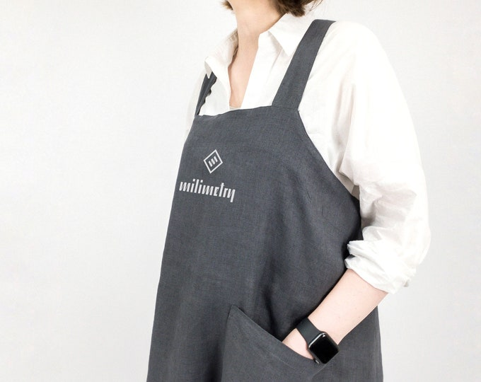 Personalized linen japanese style apron, for shops, craft shows, artisan work, no ties
