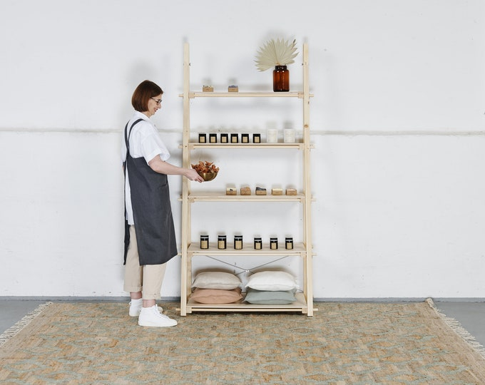 Portable shelving unit VS-05 to be placed against the wall, for shops and events, FREE clipboards