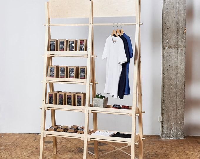 Portable double unit VSR-01: shelving unit and clothes rail   pop up store  