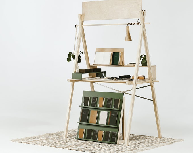 Portable wooden display counter VC-01L with risers, sustainable reusable wooden craft show display