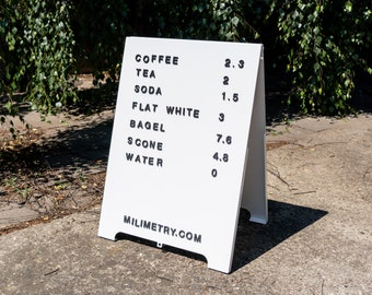 Metal magnetic board, for outdoor use, for restaurants, bars, shops and events