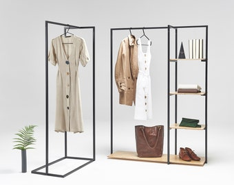 SET of 2 retail clothing rails with shelves | boutique | fashion show | any color available