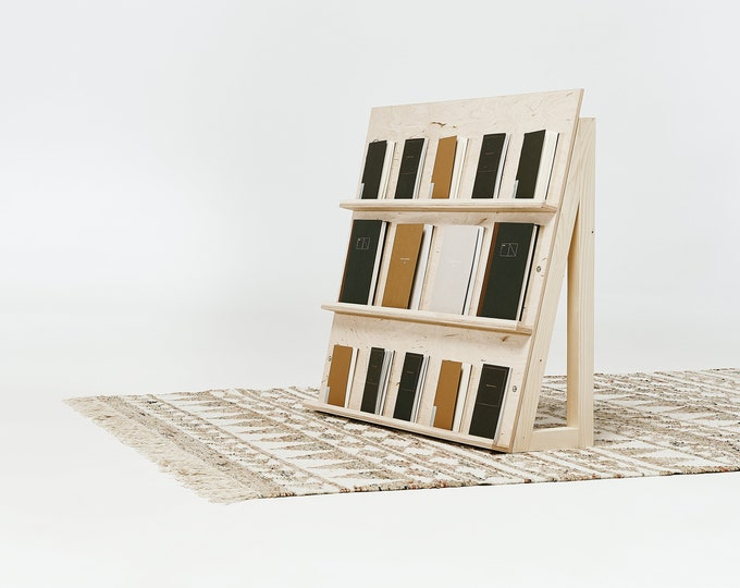 Wooden display stand for notebooks, books, planners, cards