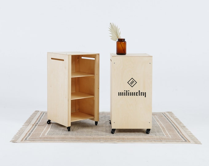 Portable counter on wheels VC-06W, personalized pop up checkout station, cart with inner shelf, workstation, kiosk. Milimetry