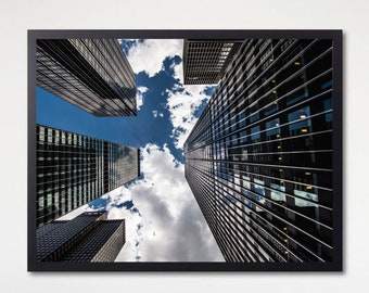 New York City Skyscraper Sky View of Clouds Manhattan Photography Poster Print