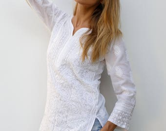 cbbcd34293bc0b White Cotton Top, Embroidery Top, Loose Fitting, Traditional Embroidery,  White Blouse, Shadow work