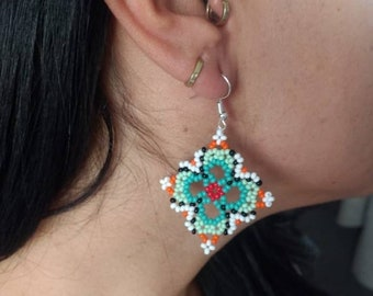 9744d4c1be4f02 Huichol Handmade earrings/ Mexican Art / Huichol Chaquira / Mexican earrings/  ethnic earrings / boho chic / Women's earrings
