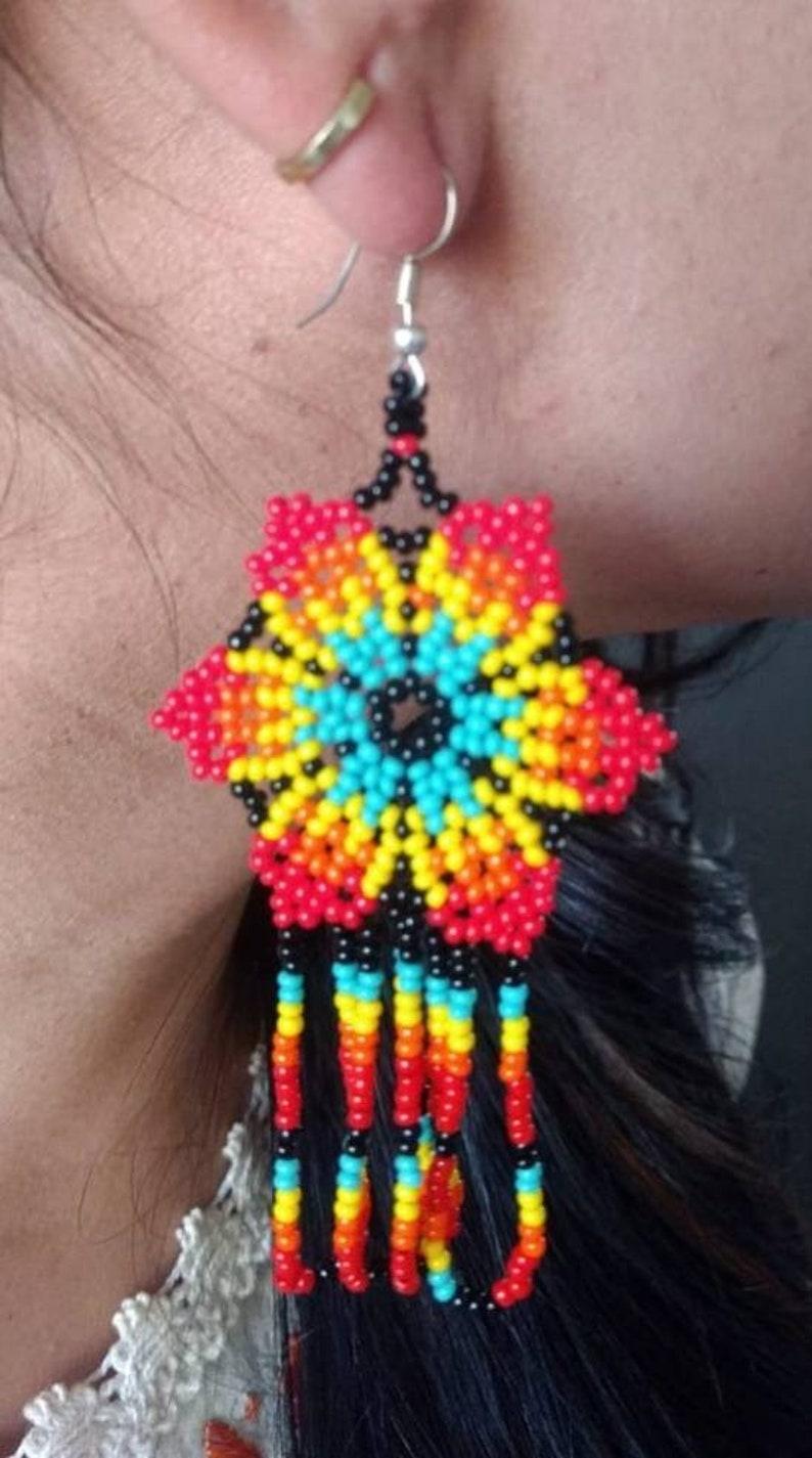 Huichol Handmade earrings Mexican Art  Huichol Chaquira  Mexican earrings ethnic earrings  boho chic  Women/'s earrings