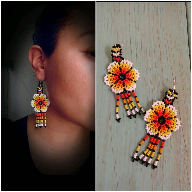681255f4e05a76 Huichol Handmade earrings/ Mexican Art / Huichol Chaquira / | Etsy