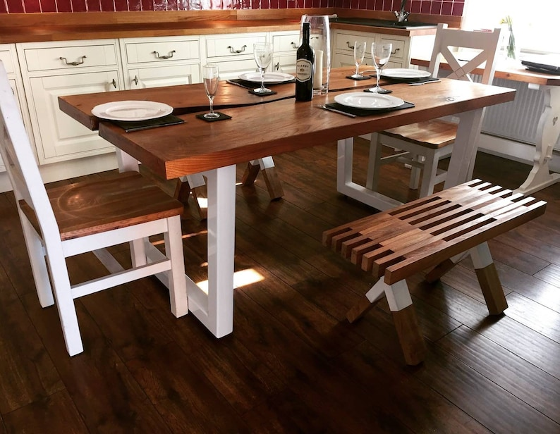 on sale a7c42 ecf70 Elm live edge dining table set