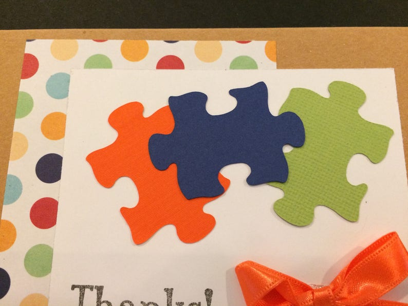 Handmade Thank You cards cheerful design using puzzle pieces and bright colors