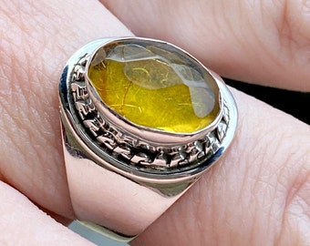 Sterling Silver Ring Oval green amber fancy surround New