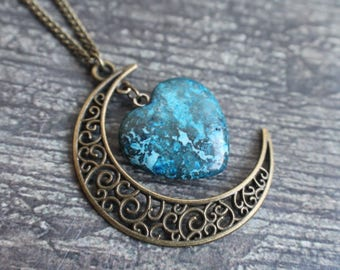 Blue Crazy Lace Agate, Crescent Moon Necklace, Agate Necklace, Moon Pendant, Boho Jewelry, Birthday gift