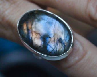 Labradorite Ring, Sterling Silver Labradorite Ring, Size 8, Flash Labradorite, Rainbow Labradorite Ring, Gift for Her