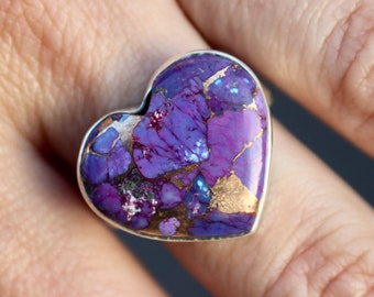 Purple Copper Turquoise Ring, Sterling Silver Turquoise Ring, 925, Turquoise Stone, Gemstone Ring, Turquoise Heart Ring, Size 8