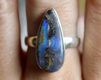 Boulder Opal Ring, Sterling Silver Boulder Opal Ring, Size 6. 5, Natural Opal Ring, Mother's Day Gift, October Birthstone, Gift for her