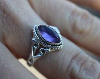 Genuine Amethyst 925 Sterling Silver Ring- Size 6- Art Deco- February Birthstone- Gift for Her