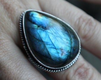 Labradorite Ring, Sterling Silver Labradorite Ring, 925, Blue Flash, Silver Labradorite Ring, Labradorite, Size 7