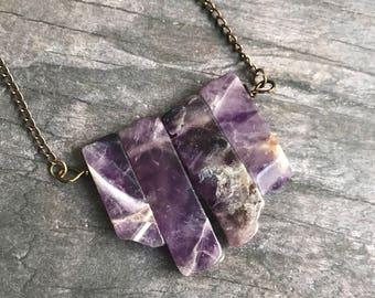 Amethyst Necklace, Amethyst Bar Necklace, February Birthstone, Bohemian Jewelry, Amethyst Pendant