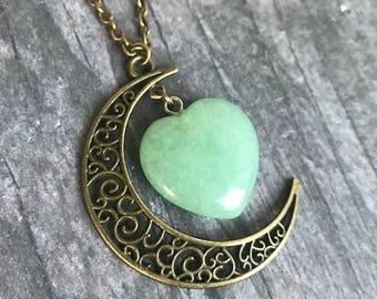 Aventurine Crescent Moon Necklace, Celestial, Moon Pendant, Boho Jewelry, gift
