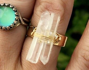 Beautiful Clear Crystal Quartz Gold Wire Wrapped Adjustable Ring