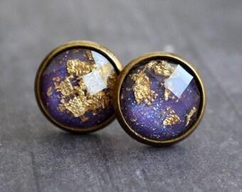 Gorgeous Gold Leaf Stud Earrings, Bohemian Earrings, Purple, 12mm, Gift