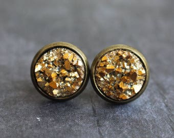 Gorgeous Gold Druzy Earrings, Bronze druzy, Studs, Boho jewelry