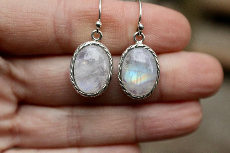 Flash Blue Moonstone Earrings Rainbow Moonstone Moonstone Earrings Moonstone Jewelry Sterling Silver Moonstone Earrings 925 Vintage