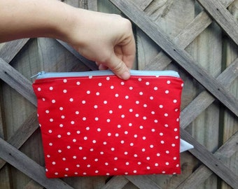 Spotty polka dot red pouch