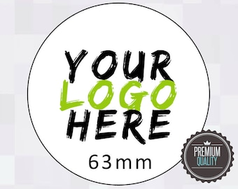 PERSONALISED CLEAR TRANSPARENT ROUND STICKERS CUSTOM LOGO LABELS 63MM